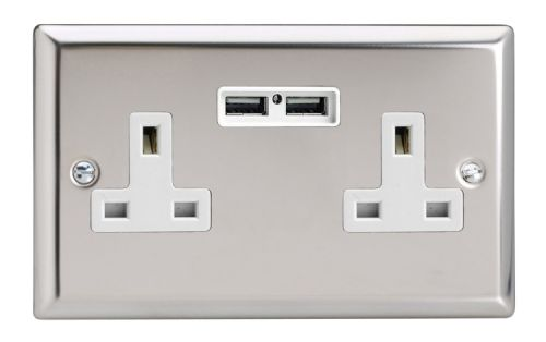 Varilight XC5U2W Classic Mirror Chrome 2 Gang Double 13A Unswitched Plug Socket 2.1A USB